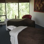 Pine tree view treatment rooms at the Blue Lotus, Ruidoso Day Spa